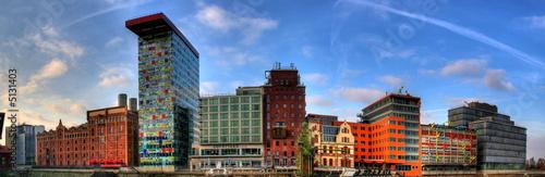Leinwanddruck Bild Skyline - Medienhafen Düsseldorf
