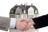 handshake arrangement buying - selling of house poster