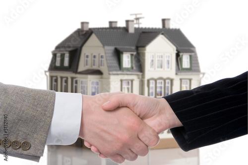 poster of handshake arrangement buying - selling of house