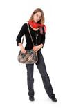 lycéenne debout avec son sac et son mp3 poster