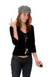Cool attitude. adolescente avec son telephone et mp3 poster