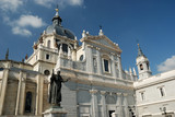 Cathedral of Almudena with statue of Pope John Paul in Madrid poster