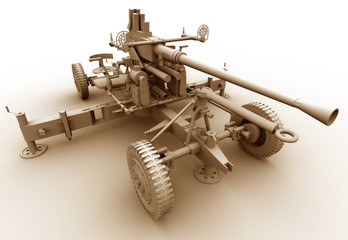 An illustration of a large calibre heavy machine gun.