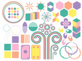 various pastel colored shapes for web and print applications poster