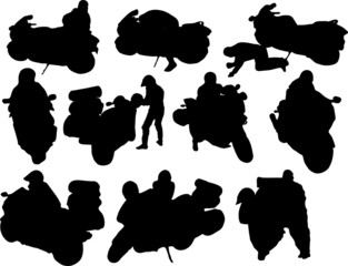 Silhouette of motobikers
