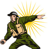 World war two solider throwing a grenade poster