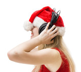 Young laughing woman in new year clothing with headphones poster