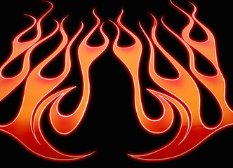 Flames with red outline