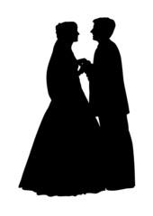 vector wedding couple face to face