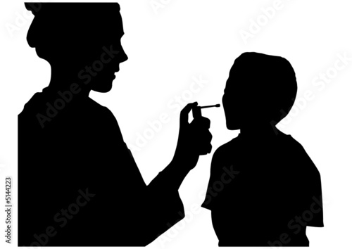 vector Doctor assessing patient
