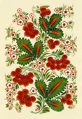 traditional ukrainian pattern. hands painted on paper