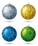 Fototapety four christmas disco  ball over white background, vector