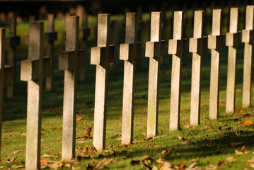 Crosses at soldiers cemetery in Montauville, France