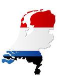 Carte des Pays-Bas (Drapeau) poster