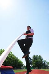 Doing high jump