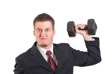 Businessman is weightlifting on white background