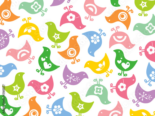 retro colorful fun icon chicks pattern