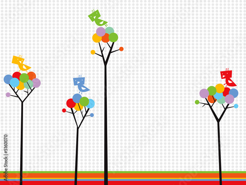 cute birds on color dots trees