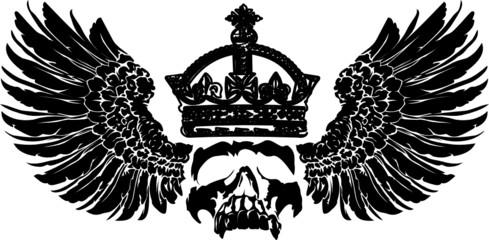 crowned skull on wings