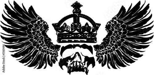 crowned skull on wings - 5161446