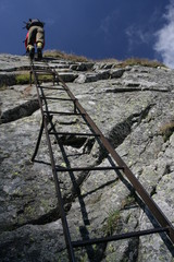 Ladder on a rock,  Eagle's path, Tatra mountains