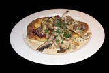 starter/ appetizer of ciabatta bread and mushrooms poster