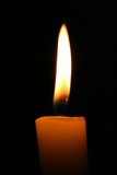 Warm light of a candle in a dark place