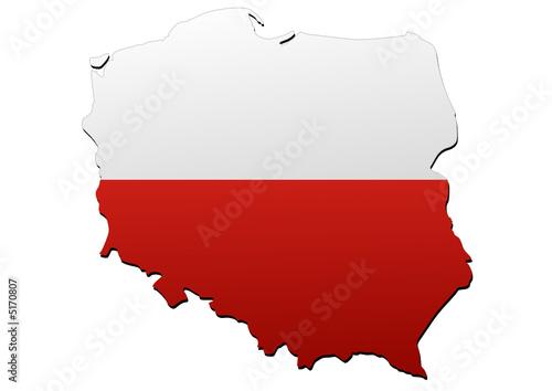 Carte de la Pologne (Drapeau)