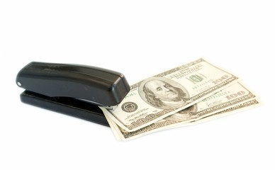 stapler with dollars