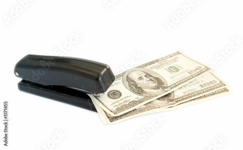 stapler with dollars