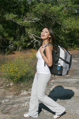 woman, backpacking