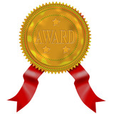 Gold seal with red ribbon  with award wording poster