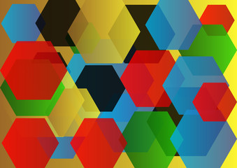red gold black blue and green hexagons