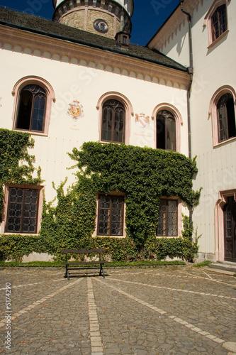 Palace interior in Prague. Yard.