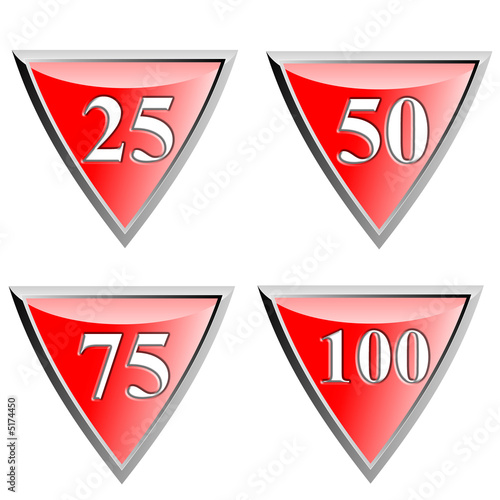 Red shield with numbers