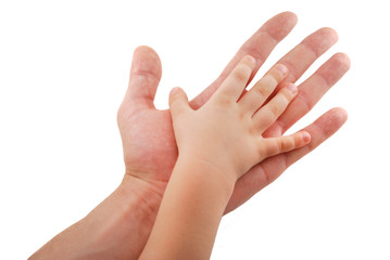Man's hand supports kid's hand