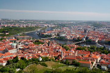Prague old town, river Vltava and bridges view from above