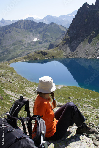 girl hiker on a rest