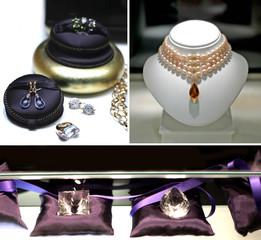 Collier, pierres précieuses et diamant