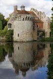 ruined castle and reflection in lake poster
