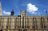 top of the palace of Westminster. the British parliament. clock poster