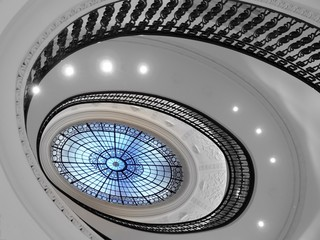 Spiral staircase with glass atrium