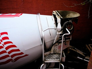 Detail of Cement Mixer Truck Viewed From Above
