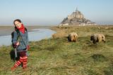 Enfant en tourisme au mont st Michel ( bretagne ) poster