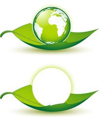 Planète Terre sur feuille, image vectorielle