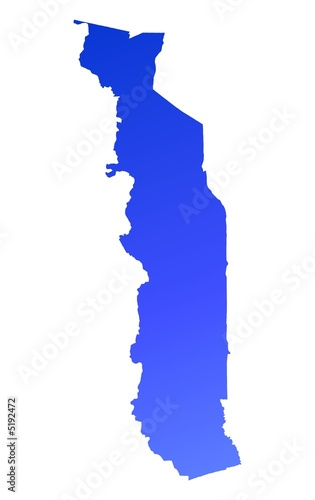blue gradient map of Togo