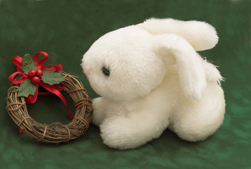 Rabbit with Christmas ring