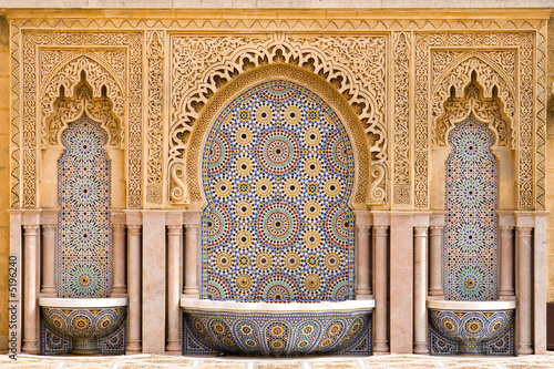 Leinwanddruck Bild Typical moroccan tiled fountain in the city of Rabat, near the H