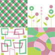 retro dusky pink and green pattern quads
