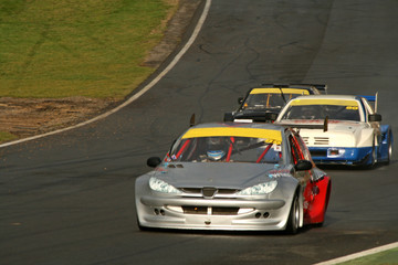 race cars on track